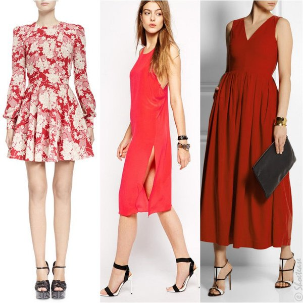 Màu giày đen - trắng kết hợp với váy đỏ