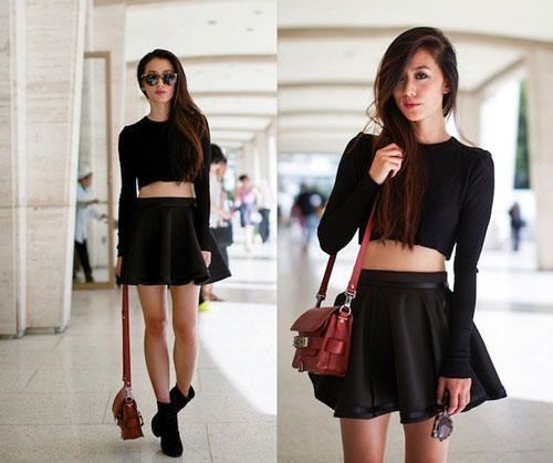 mix-chân-váy-xòe-đen-với-áo-croptop