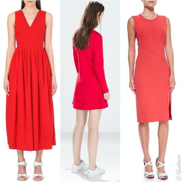 Giày trắng với váy đỏ 2