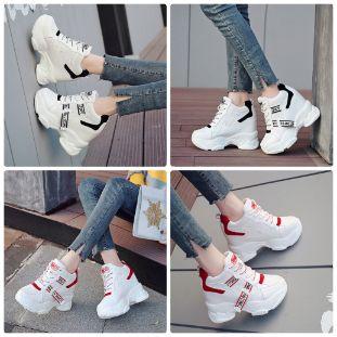 Zg giày nâng đế nữ 10cm màu Đỏ son phong cách thể thao phối lưới