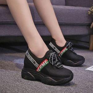 Zg giày tăng chiều cao nữ ở tphcm 8cm màu Nâu đen năng động buộc dây